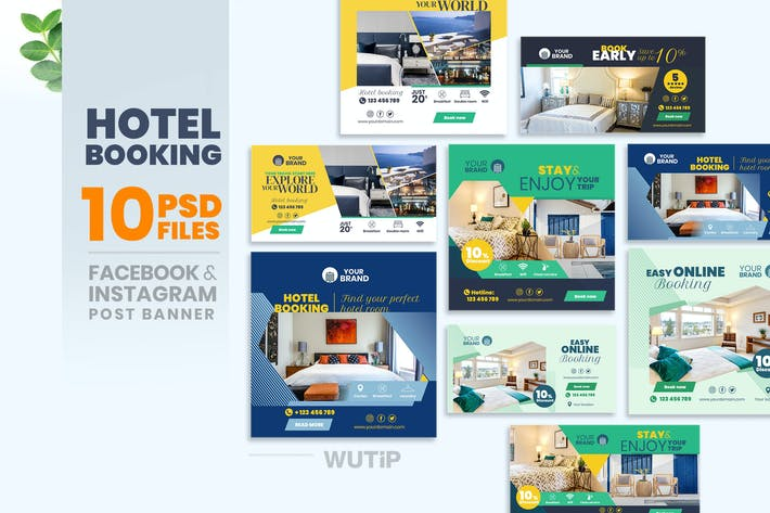 Thumbnail for 10 Social Media Banners - Hotel Booking