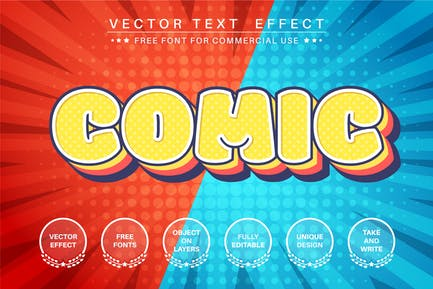 Comic layer - editable text effect,  font style
