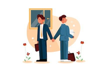Businessmen handshaking back to back