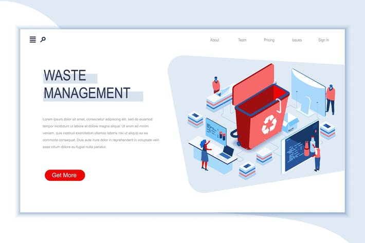 Waste Management Isometric Banner Flat Concept