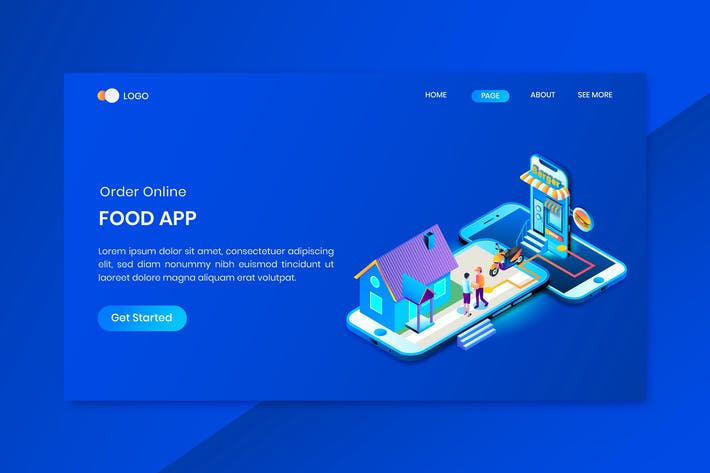 Delivery Services Isometric Concept Landing Page