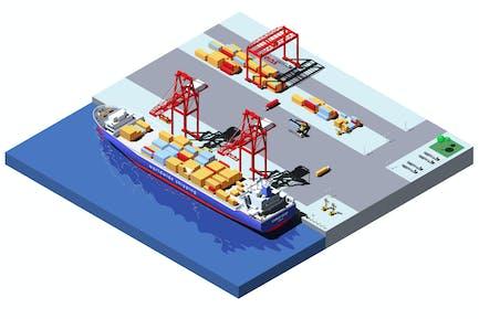 Vector Isometric Cargo Port