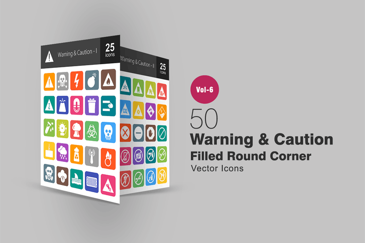 Thumbnail for 50 Warning & Caution Filled Round Corner Icons