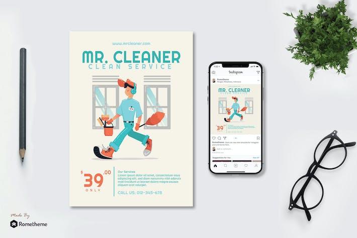 Thumbnail for Mr. Cleaner - Creative dépliant & Instagram Post GR