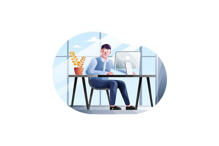 Thumbnail for Geschäftsmann arbeitet in seinem Büro mit einem Computer