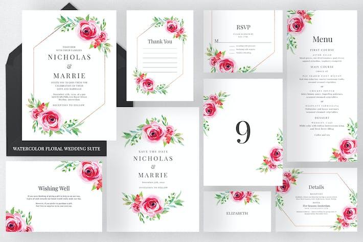 Thumbnail for Watercolour Floral Wedding Suite