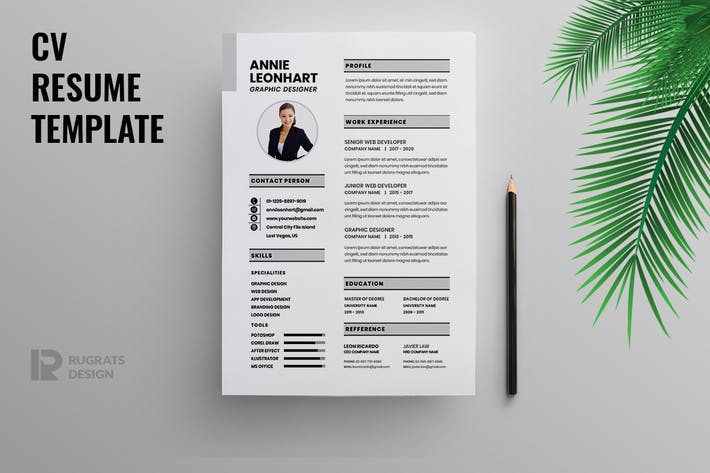 Thumbnail for Minimalist CV  Resume R44 Template