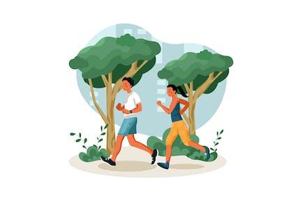 Jogging en el parque de la ciudad Ilustración