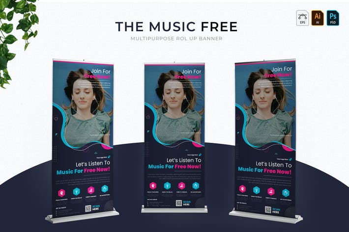 Thumbnail for Music Free | Roll Up Banner