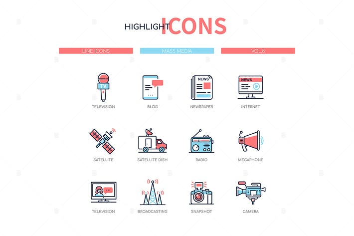 Thumbnail for Mass media - line design style icons set
