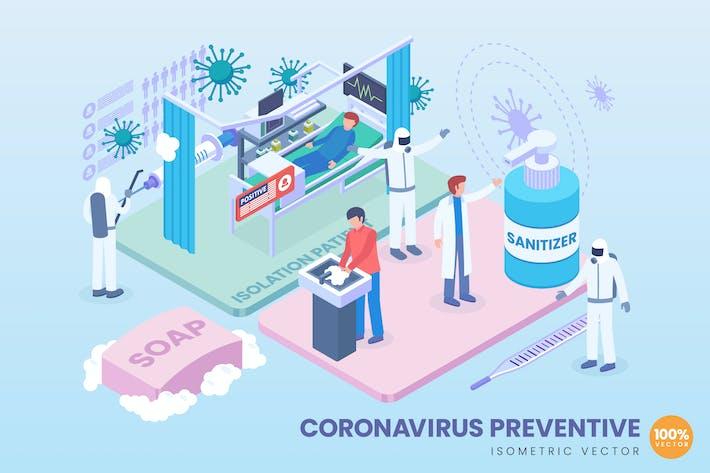 Thumbnail for Isometrisches Coronavirus-PräventivVektor konzept