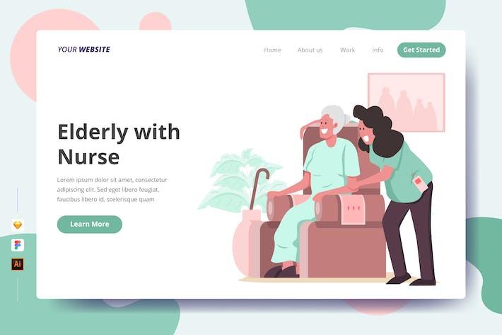 Elderly with Nurse - Landing Page