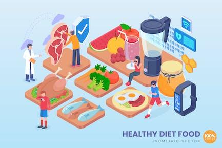 Isométrica Dieta Saludable Concepto Vector de Alimentos