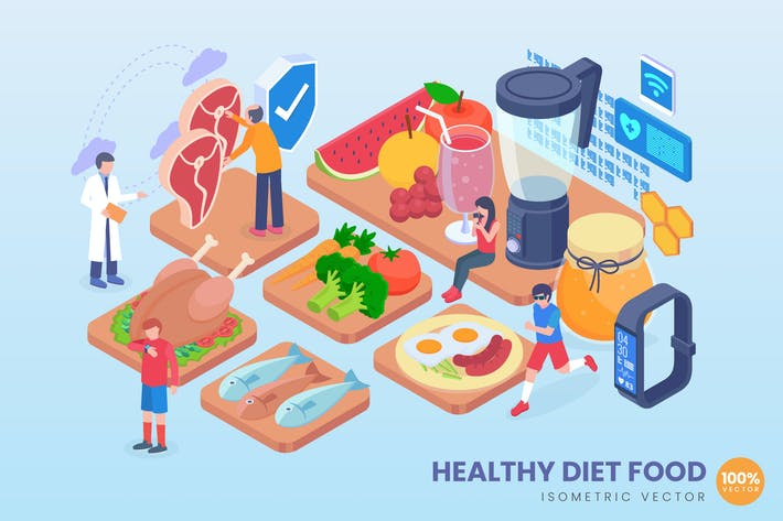 Cover Image For Isometric Healthy Diet Food Vector Concept