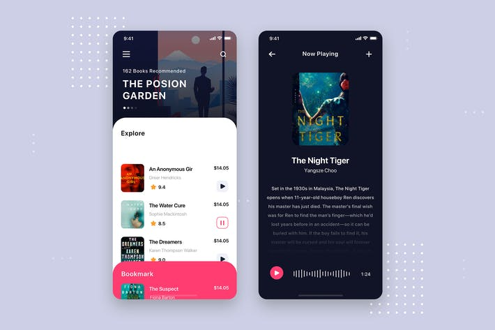 Thumbnail for Audio Book Mobile App UI Kit Template