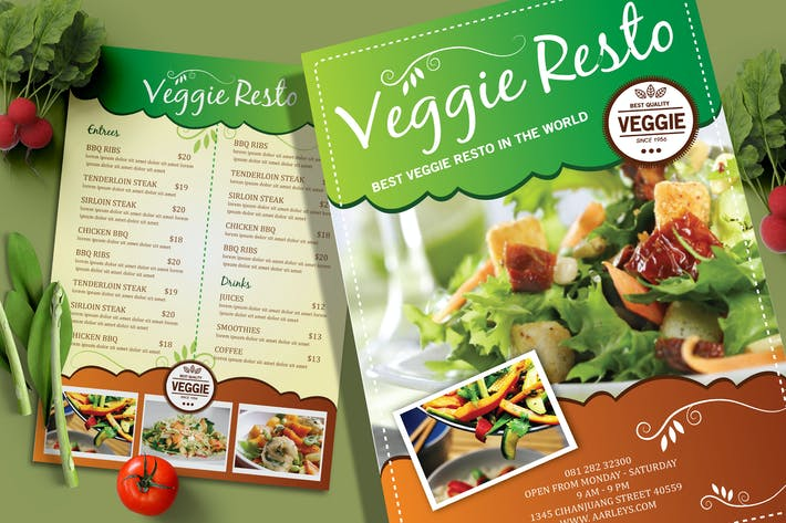 Cover Image For Vegetarian Resto Menu Flyer