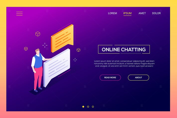 Cover Image For Online chatting - isometric vector web banner