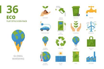 Ökologie-flacher Stil-Icon