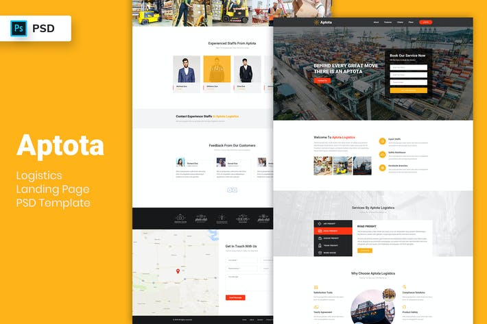 Thumbnail for Logistics - Landing Page PSD Template