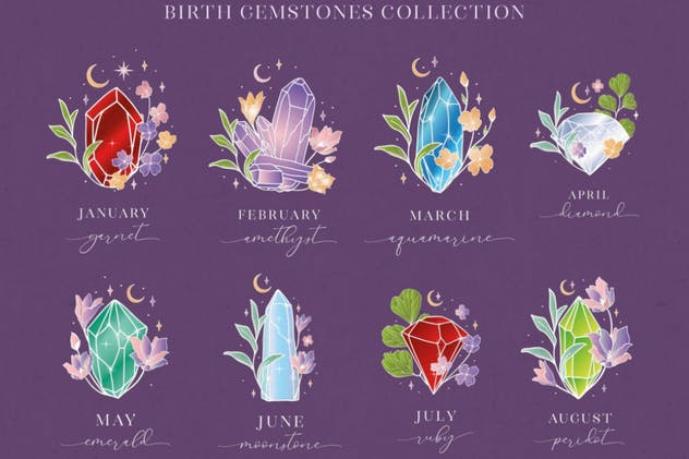 Birthstones Gems Illustrations. White colored. - product preview 3
