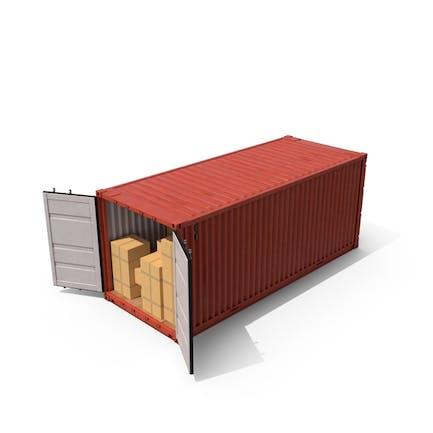 Contenedor de envío con cajas