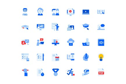 Distance Education Icons Set