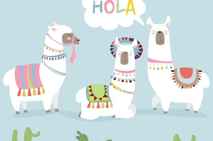 Thumbnail for Cute friends mexican white alpaca llamas. Vector