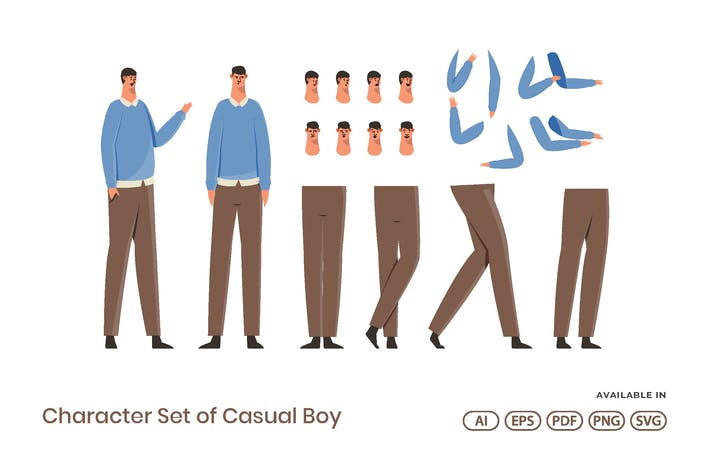 Thumbnail for Character Set of Casual Boy for Motion Graphic