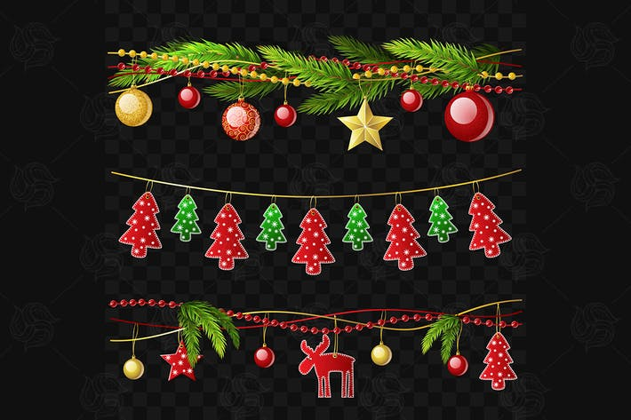 Thumbnail for Christmas garlands - set of vector elements