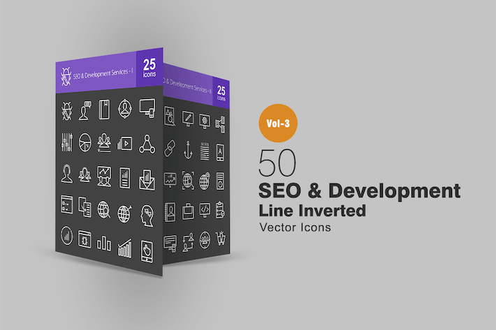 Thumbnail for 50 SEO & Development Line Inverted Icons