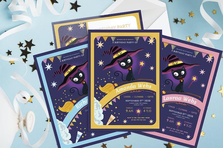 Cat Wizard - Kids Birthday Invitation