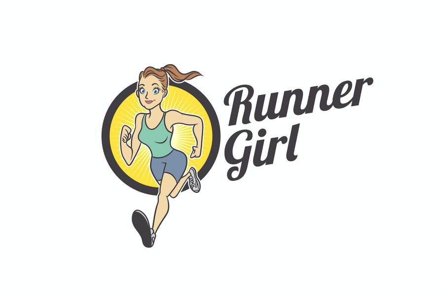 Fit Healthy Runner Girl Mascot Logo