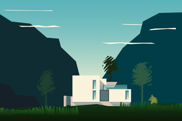 Thumbnail for vector mountain landscape with a house