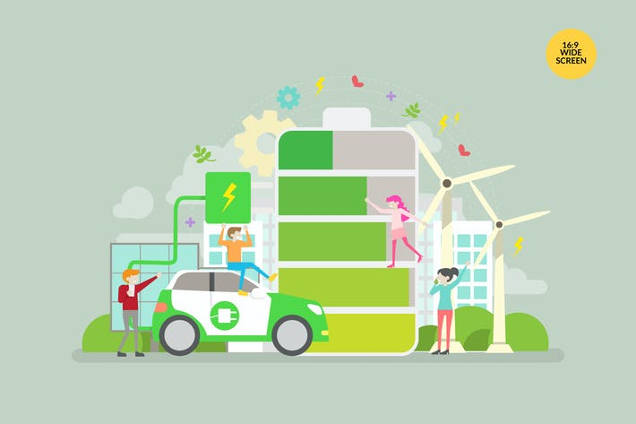Thumbnail for Green Eco Lifestyle Vector Concept Illustration