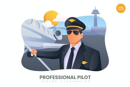 Professional Pilot Vector Illustration Concept