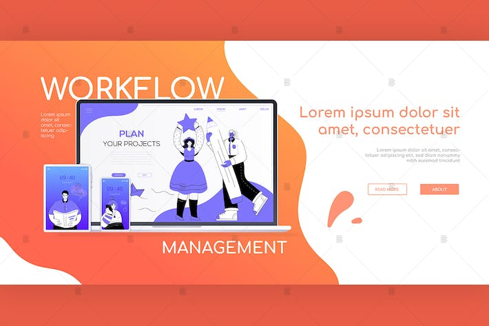 Workflow-Management - flaches DesignBanner