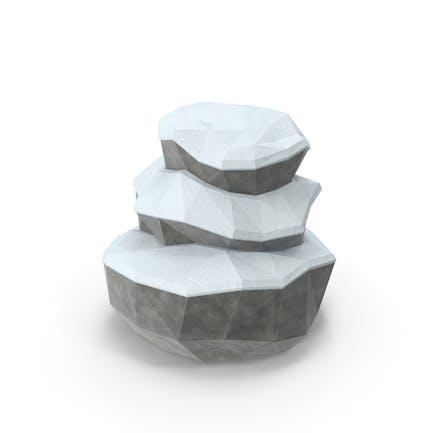 Low Poly Schneebedeckter Felsbrocken