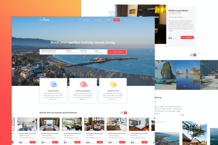 Cover Image For Chiatravel - Travel & Hotel Booking PSD template