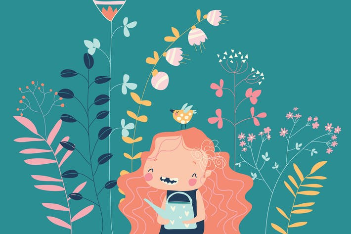 Cute girl holding watering can surrounded by flowe