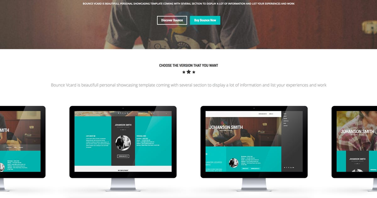 Download BOUNCE - Responsive One Page Vcard Template by mutationthemes