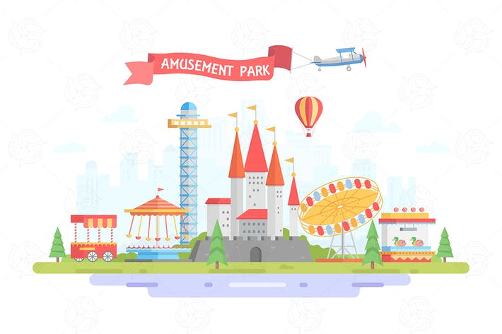 Thumbnail for City with amusement park - vector illustration