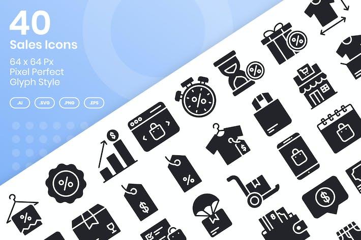 Набор Иконки для продажи 40 - Глиф