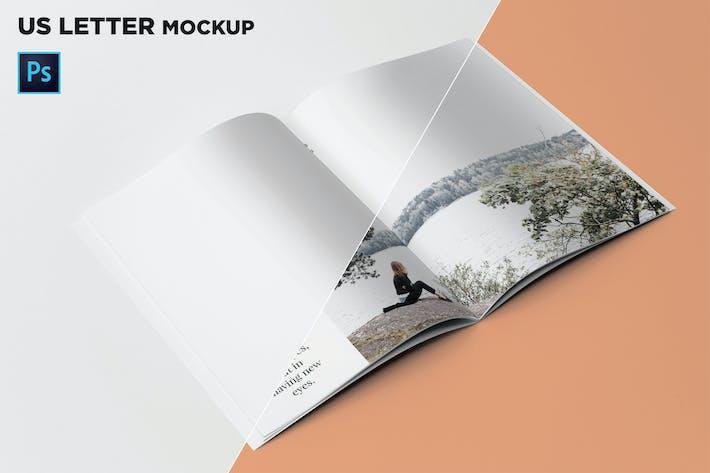 Thumbnail for US Letter Brochure Mockup 45 Degree