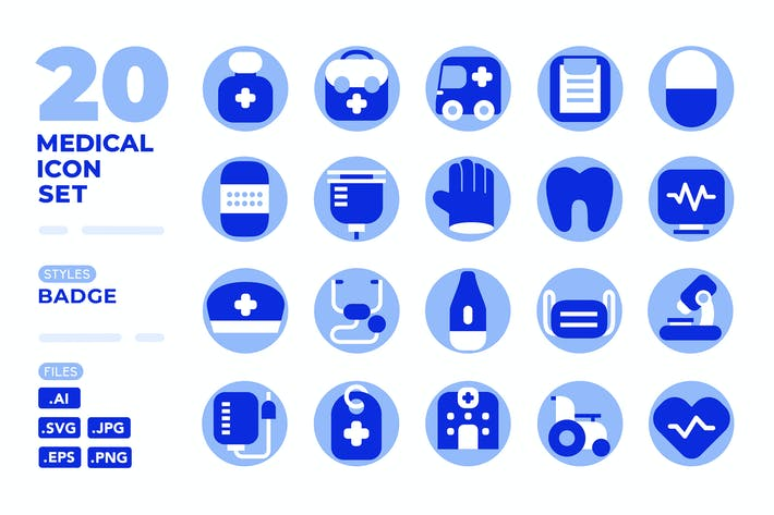 Thumbnail for Medical Icon Set (Badge)