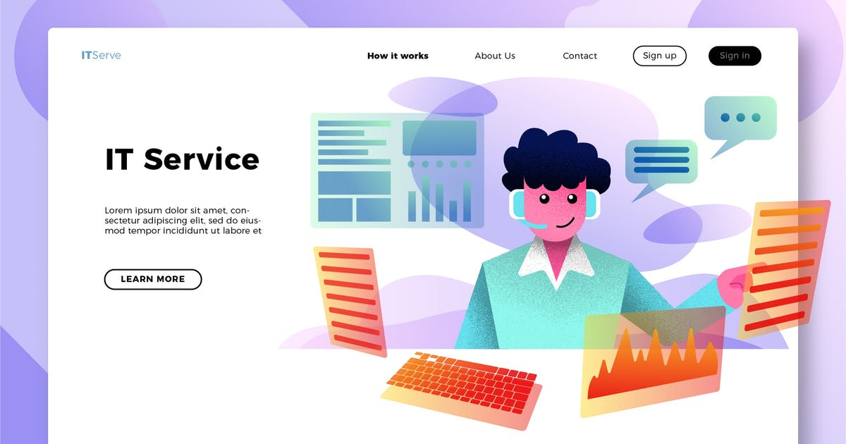 Download IT Services - Banner & Landing Page by aqrstudio