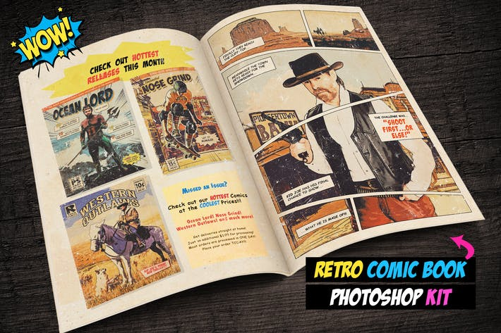Cover Image For Retro Comic Book Photoshop Action Kit