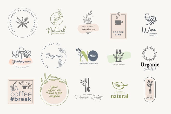 Set of badges and stickers for food and drink