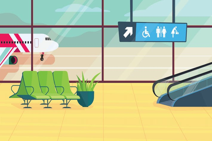 Airport inside - Illustration Background