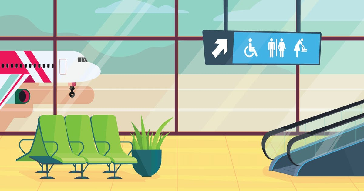 Download Airport inside - Illustration Background by Imapix_