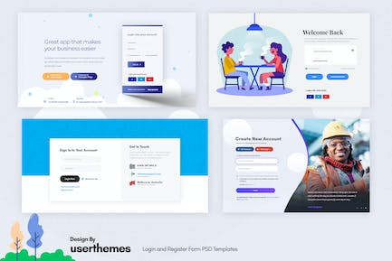 Login and Register Form PSD Templates